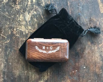 Custom Engraved Natural Wood Ring Box, Wooden Ring Box, Personalized Ring Keeper, Ring Pillow Alternative, Wedding Ring Box