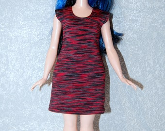 Dress fits Curvy Barbie fashionista fashion doll clothes Red-Black Stripe A4B186