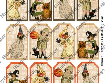 Vintage Halloween Pumpkin Black Cat Witch Boy  Girl Victorian Digital Collage sheet Printable DIY Tags