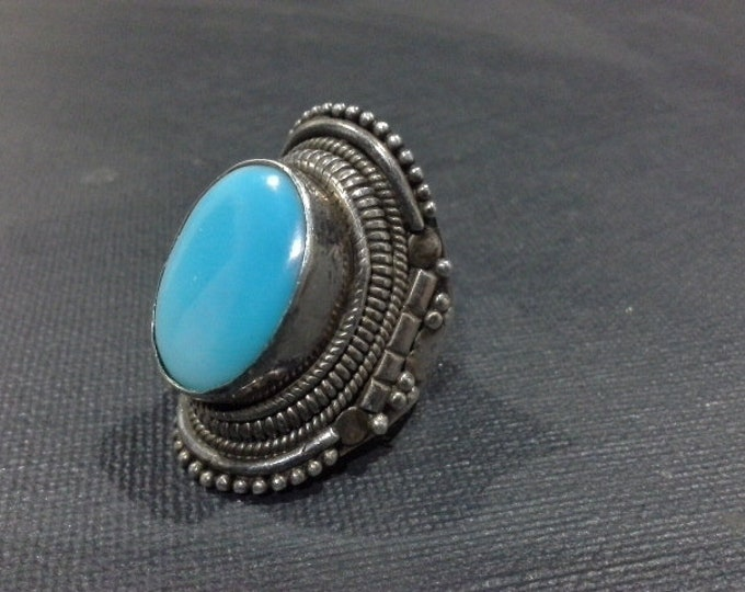 Vintage Large Sterling Silver & Turquoise South Western Rope Ring Stamped 925 Size 7.5