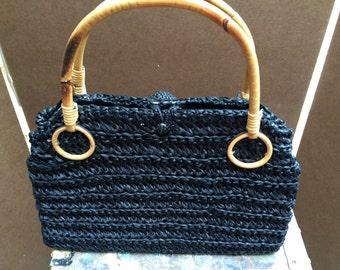 Bamboo Handled Straw Handbag