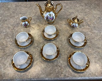 Tirschenreuth Bavaria Germany Demitasse Tea Set 24K Gold NEW!