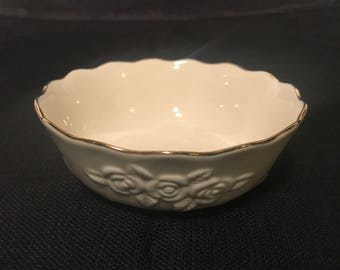 Vintage Lenox Rose Blossom Embossed China Bowl with 24K Gold Scalloped Edge