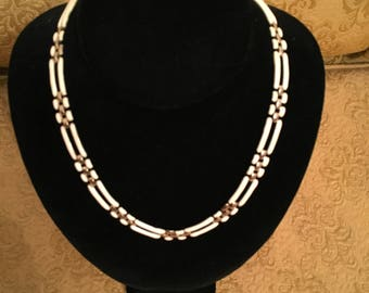 Beige and Gold Link Necklace
