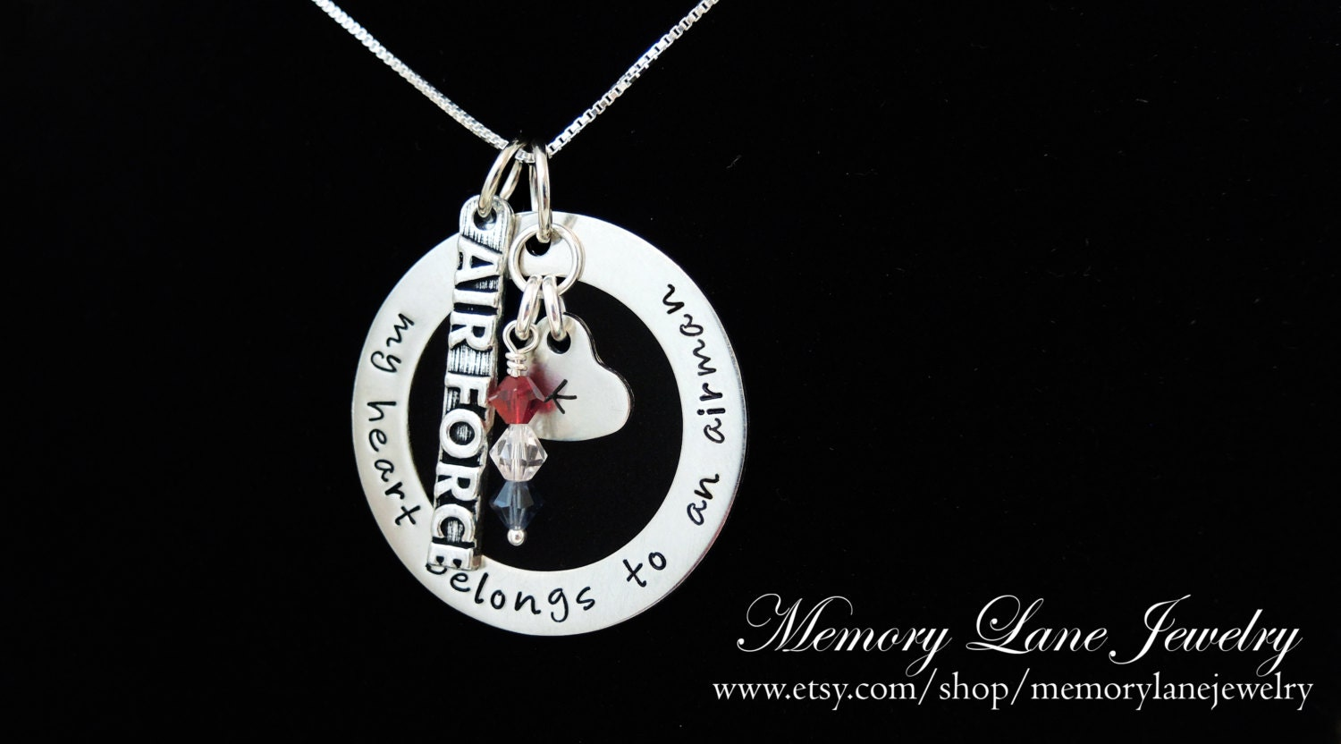 My heart belongs to an airman necklace air force wife zoom aloadofball Choice Image