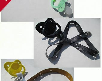 AB/DL Large Sheild/Teat Pacifier with Fixed Exotic Leather Paci Holder Clip Straps
