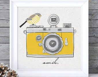 Mustard Yellow Decor, Mustard Yellow Art, Mustard Wall Art, Camera Print, Camera Wall Art, Ochre Wall Art, Ochre Picture, Retro Wall Art