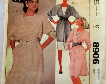 80s McCalls 8906 Dress with Dolman Sleeves Size 14 Bust 36