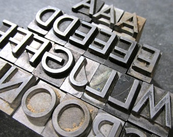 "Vintage Metal Letterpress Type Blocks YOUR CHOICE 36 Point 1/2"" Metal Letterpress Type Alphabet A-Z Printing Art Assemblage Supplies (A200)"