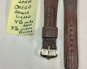 1960s Omega Genuine Lizard Band with Gold Filled Omega Buckle 8 inches long