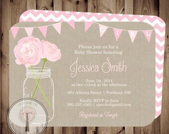 BABY GIRL Baby Shower Invitation, baby shower invite, mason jar baby shower, mason jar, flowers, baby,pink, front and back, burlap, rustic