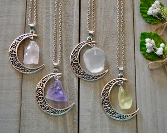 crystal crescent moon drops/Rose quartz/Amethyst/Clear quartz/Citrine