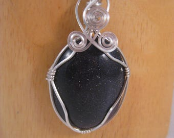 Blue Goldstone Silver Wire Wrapped Pendant Necklace with Moonstones