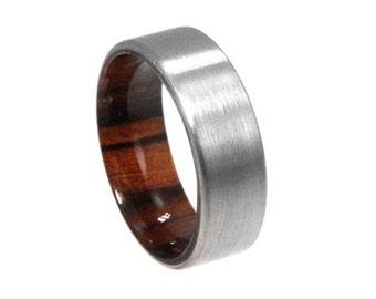 Mens Titanium Wedding Band With an Ironwood Sleeve, Wood Ring, Customizable Ring