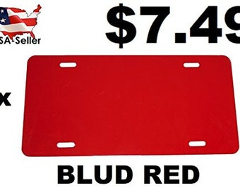 Blud Red - License Plate Blank for Sublimation - Aluminum - 0.040 Thickness/1mm - Standard US/Canada Size 12x6 (FBA)