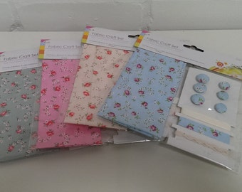 Fabric, craft packs, kids, crafts, scrap-booking,  fabric craft set. vintage fabric, floral fabric,