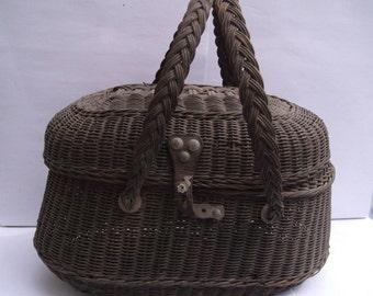 Antic Basket, Market wicker Basket ,Basket in rattan.It dates 1850s