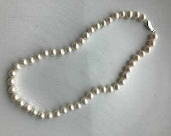 Vintage Cultured Feeshwater Pearl Necklace with Sterling Silver Clasp