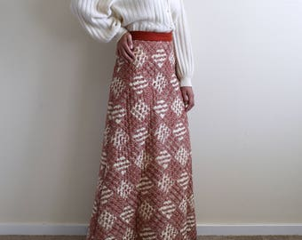 LANZ ORIGINAL vintage brick red and white quilted maxi high waist skirt / s