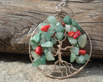 Wire Wrapped Tree of Life Pendant Green Aventurine and Coral Beads Necklace Green and Red Tree of Life Pendant
