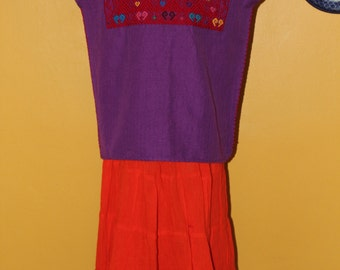 Cotton Hand embroidered Huipil Purple (3-4 Years)-Boho-Mexican Children's Clothing-Loom Fashion-Frida Kahlo-Toddler-Girls-Disney Coco-Fiesta