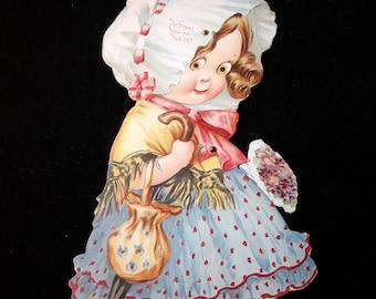 Large Vintage Valentine, Girl in Bonnet