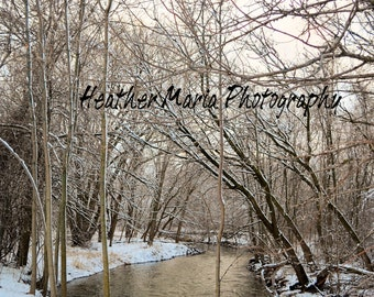 Winter Stream as the sunsets, fine art photography, Milwaukee Wisconsin