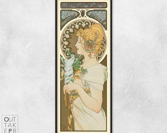 Art nouveau poster - Alphonse Mucha - Art nouveau print - Feather, P006