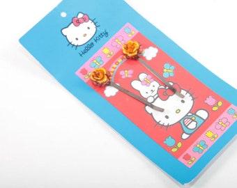Hello Kitty, Hair Clip, Orange Flower, Sanrio, Children, Collection, Vintage, Nostalgia ~ 170604