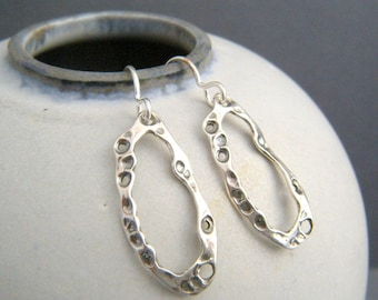 small silver organic hoop earrings. simple kelp beach jewelry. black oxidized sterling silver. summer charms. ocean sea life. gift for her
