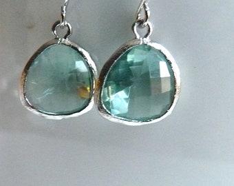 Aqua Mint Seafoam Blue Teardrop Rhodium Plated Dangle Drop Earrings. Modern Simple Trendy Holiday Gifts for HerP