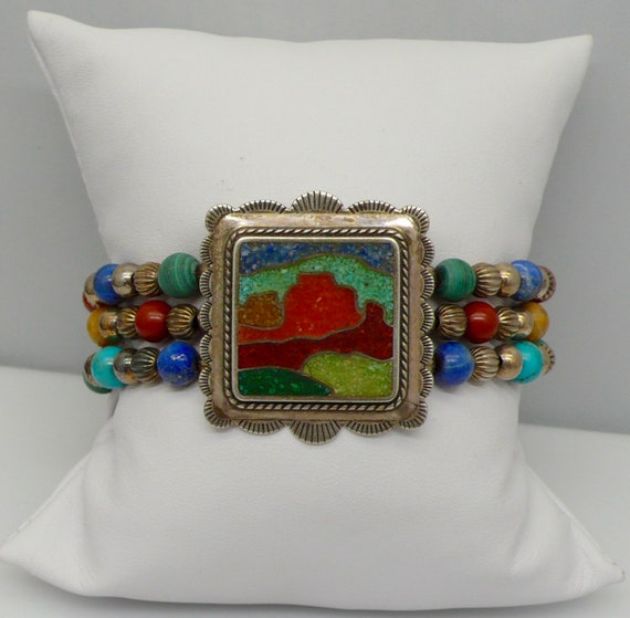 Vintage Native American Sterling Silver Sand Painting Designed, Turquoise, malachite, Lapis, and Coral Beaded Bracelet