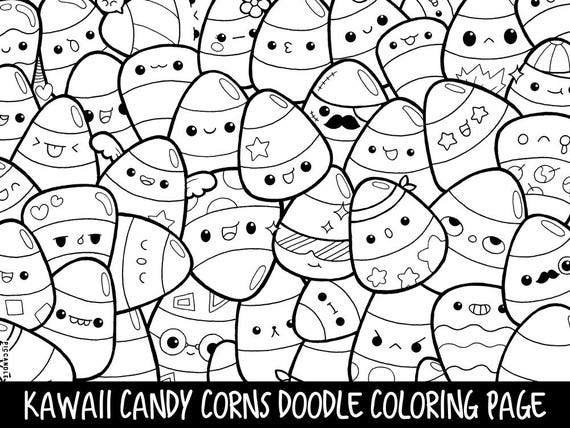 Candy Corns Doodle Coloring Page Printable Cute Kawaii