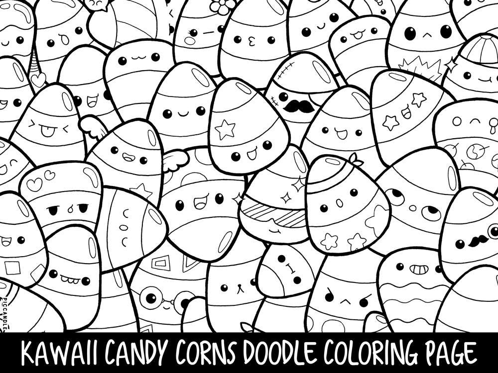 Candy corns doodle coloring page printable cute kawaii for Cute kawaii coloring pages
