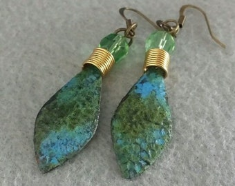 Blue Green Brass Coil Patina Earrings, Recycled Metal
