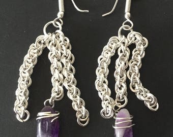 Chain Maille and Amethyst Earrings