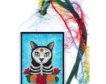 Day of the Dead Cat Bookmark Mexican Sugar Skull Cat Bookmarker Black Cat Painting Fantasy Cat Art Mini Bookmark Cat Lovers Gift