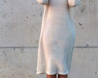 Oversized dress / Eco friendly dress/ White knit dress / Comfortable dress / Alpaca mohair silk dress / Elegant dress / Minimalist dress