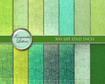 Green Linen digital paper pack digital scrapbooking linen texture printable paper pack digital scrapbook background paper linen texture