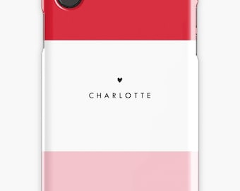 Personalized iPhone 7 Case iPhone 7 plus case iPhone 6s case iPhone X Case Samsung s8 Case Samsung Galaxy Custom Phone Case Pink Heart