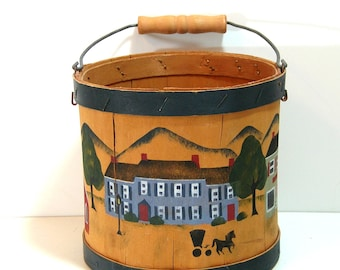 Hand Painted Wood Bucket with Village Scene