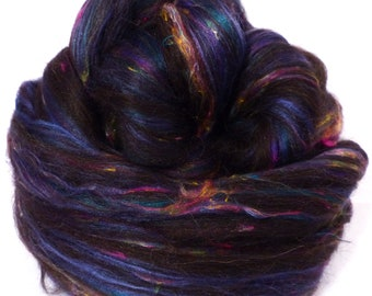 So Sari Blend - Black -  Black Shetland/ Sari Silk /Black Alpaca/ Silk/ Bamboo ( 25/25/25/15/10)  (2 oz. )