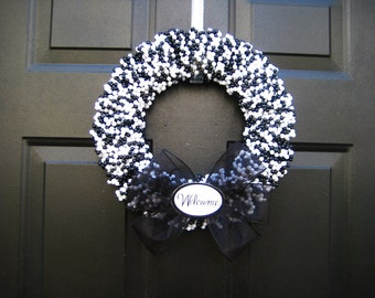 Sophisticated Black and White Beaded Welcome Wreath