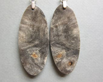 Buckeye Burl Earrings Large Drop Exotic Wood handcrafted ecofriendly ExoticWoodJewelryAnd