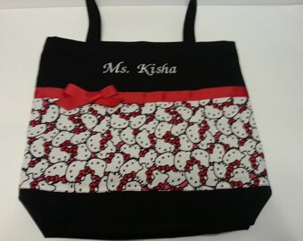 New! Hello Kitty fabric tote bag, Hello kitty, Recital gift idea, Dance bag, Overnight bag!