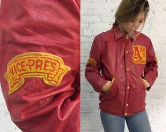 vintage red leather varsity jacket  / mens vintage letterman / 70s red letter jacket / chenille patch