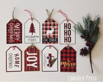 Printable Christmas Tags - Plaid Christmas Tags - Rustic red plaid Gift Tags - Instant Download - CC