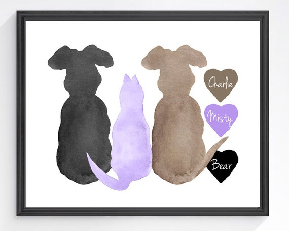 Pet Family Portrait, 8x10 Personalized Animal Lover Print