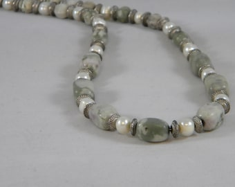 OOAK Peace Stone and Freshwater Pearl Beaded Necklace