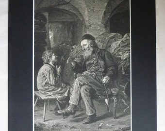 1880s Antique Ludwig Knaus Print of the Wisdom of Solomon, Available Framed German Art Wise Man Smoking Pipe Gift Grandfather Portrait Decor